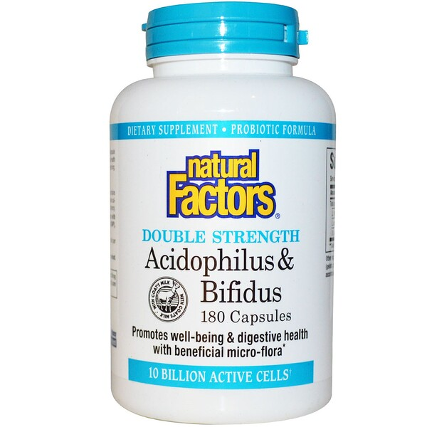 Natural Factors, Acidophilus & Bifidus, 10 Billion Active Cells, 180 Capsules (Ice)  (Discontinued Item)