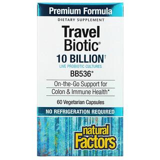 Natural Factors, Travel Biotic, BB536, 10 Billion, 60 Vegetarian Capsules