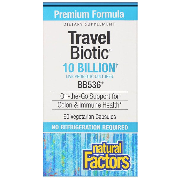 Natural Factors, Travel Biotic, BB536, 10 Billion Active Cells, 60 Vegetarian Capsules