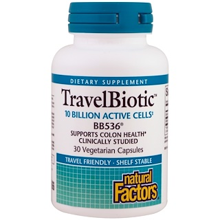 Natural Factors, Travel Biotic BB536, 30 Vegetarian Capsules
