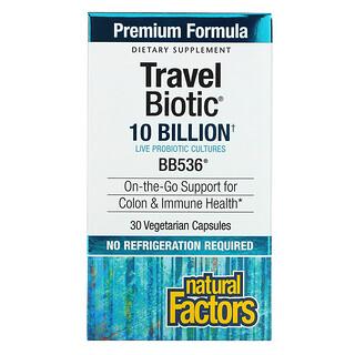 Natural Factors, Travel Biotic, BB536, 10 Billion, 30 Vegetarian Capsules