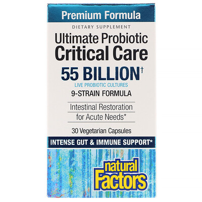 Купить Natural Factors Ultimate Probiotic Critical Care, 55 Billion CFU, 30 Vegetarian Capsules