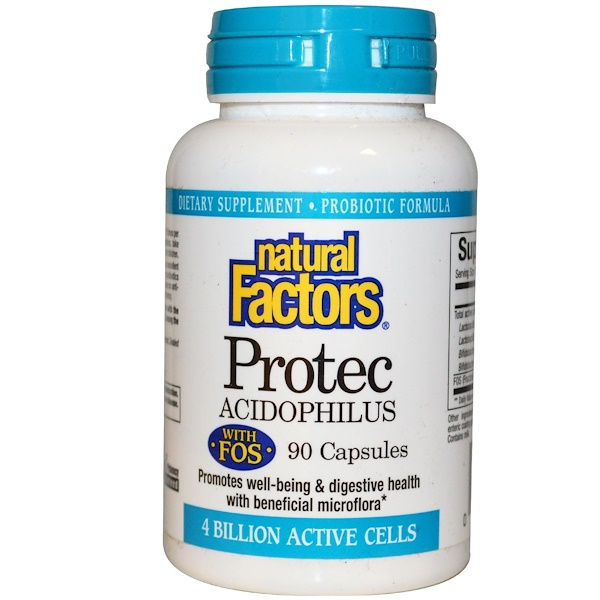 Natural Factors, Protec Acidophilus, with FOS, 4 Billion Active Cells, (Ice), 90 Capsules (Discontinued Item)