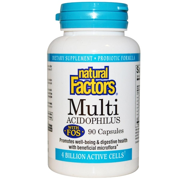 Natural Factors, Multi Acidophilus with FOS, 4 Billion Active Cells, 90 Capsules, (Ice) (Discontinued Item)