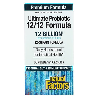 Natural Factors Ultimate Probiotic, 12/12 Formula, 12 Billion, 60 Vegetarian Capsules