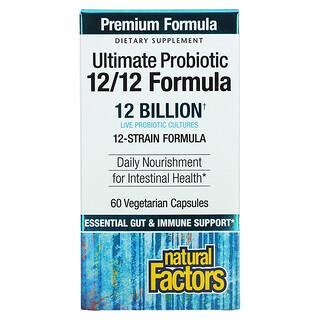 Natural Factors, Ultimate Probiotic, 12/12 Formula, 12 Billion, 60 Vegetarian Capsules