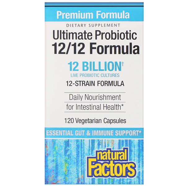 Natural Factors, Ultimate Probiotic, 12/12 Formula, 12 Billion CFU, 120 Vegetarian Capsules