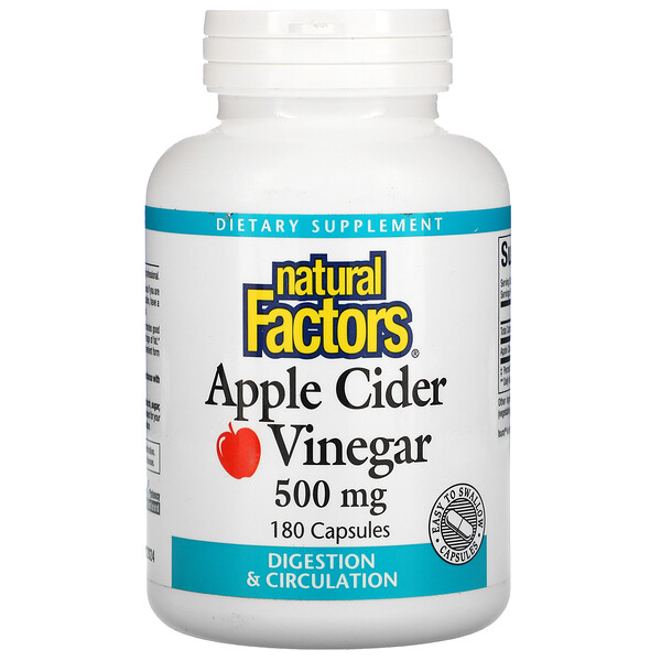 Natural Factors, Vinagre de sidra de manzana, 500 mg, 180 cápsulas