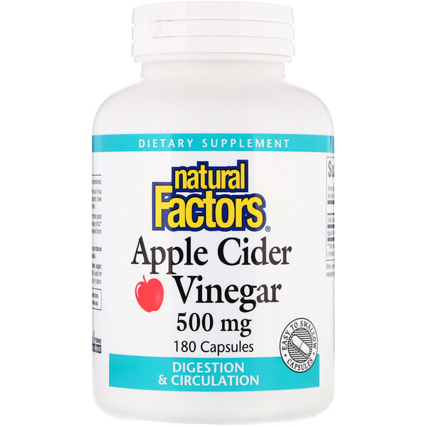 Natural Factors, Apple Cider Vinegar, 500 mg, 180 Capsules
