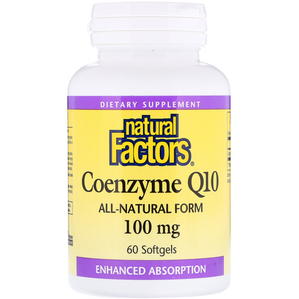 Natural Factors, Coenzyme Q10, Assimilation Renforcée, 100 mg, 60 Gélules