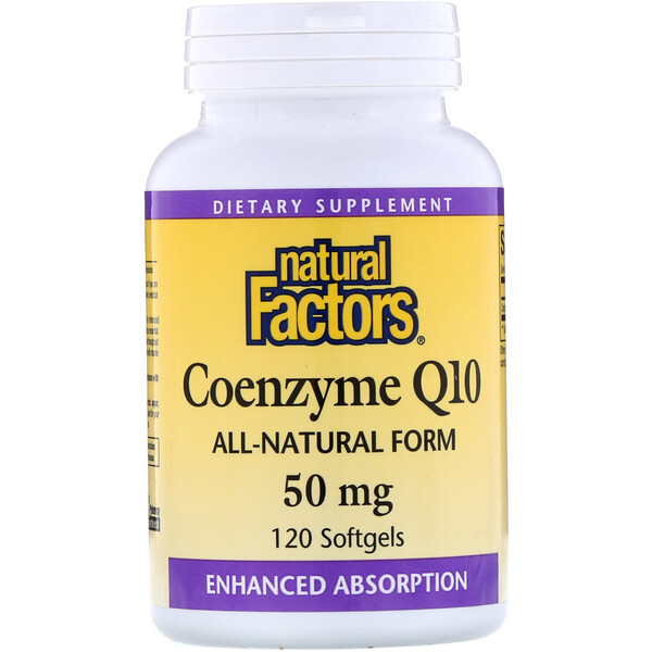 Natural Factors, Coenzyme Q10‏، 50 مجم، 120 كبسولة هلامية