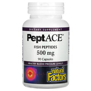 Natural Factors, PeptACE, Fish Peptides, 500 mg, 90 Capsules