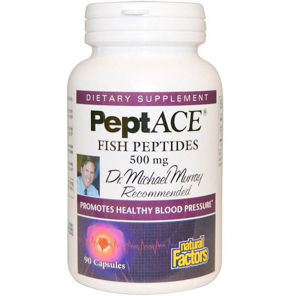 Natural Factors, PeptACE, Peptídios de peixe, 500 mg, 90 cápsulas