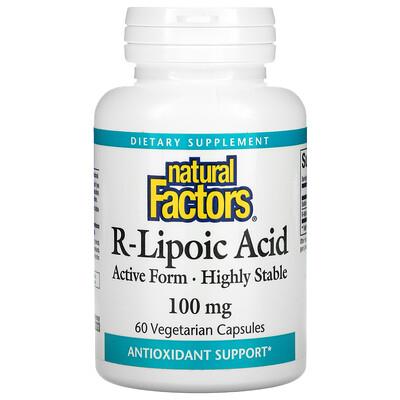 Natural Factors R-Lipoic Acid 100 mg 60 Vegetarian Capsules