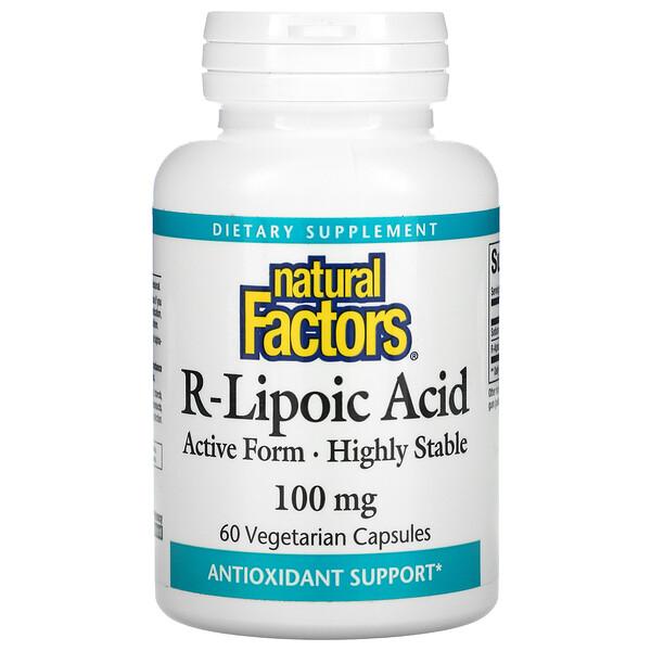 Natural Factors, R-Lipoic Acid, 100 mg, 60 Vegetarian Capsules