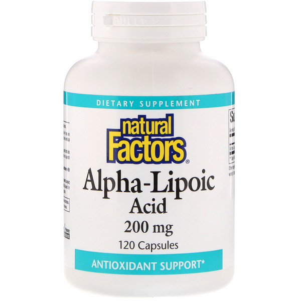 Natural Factors, Ácido alfa-lipoico, 200 mg, 120 cápsulas.