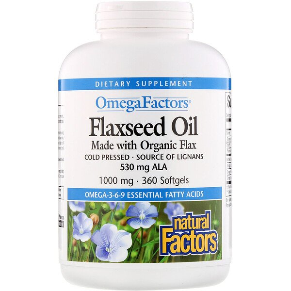 Natural Factors, Omega Factors, Flaxseed Oil, 1000 mg, 360 Softgels