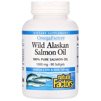 Natural Factors Wild Alaskan Salmon Oil, 1,000 mg, 90 Softgels