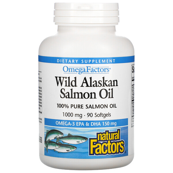 Natural Factors, Wild Alaskan Salmon Oil, 1,000 mg, 90 Softgels