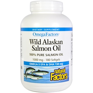 Natural Factors, オメガ因子(Omega Factors), 野生のアラスカ産サーモンオイル, 1,000 mg, 180ソフトゼリー