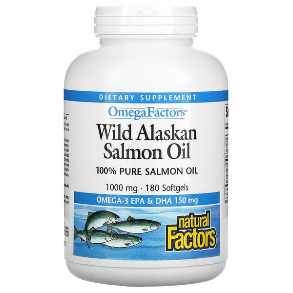 Omega Factors, Wild Alaskan Salmon Oil, 1,000 mg, 180 Softgels