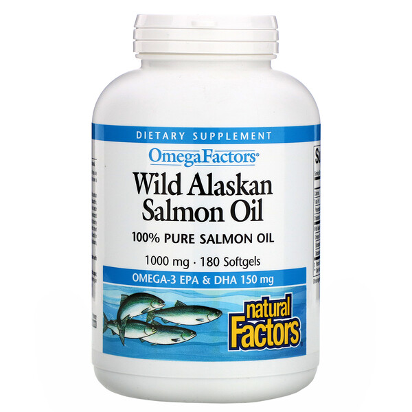 Natural Factors, Omega Factors, Wild Alaskan Salmon Oil, 1.000 mg, 180 cápsulas gelatinosas