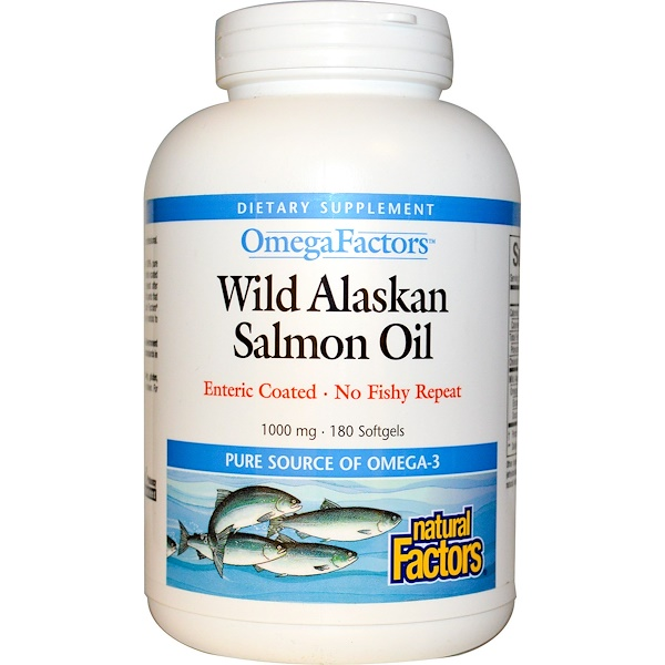 Natural Factors, Omega Factors, Wild Alaskan Salmon Oil,, 1000 mg, 180 Enteric Coated Softgels (Discontinued Item)