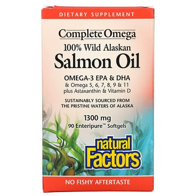 Natural Factors 100% Wild Alaskan Salmon Oil, 1300 mg, 90 Enteripure Softgels
