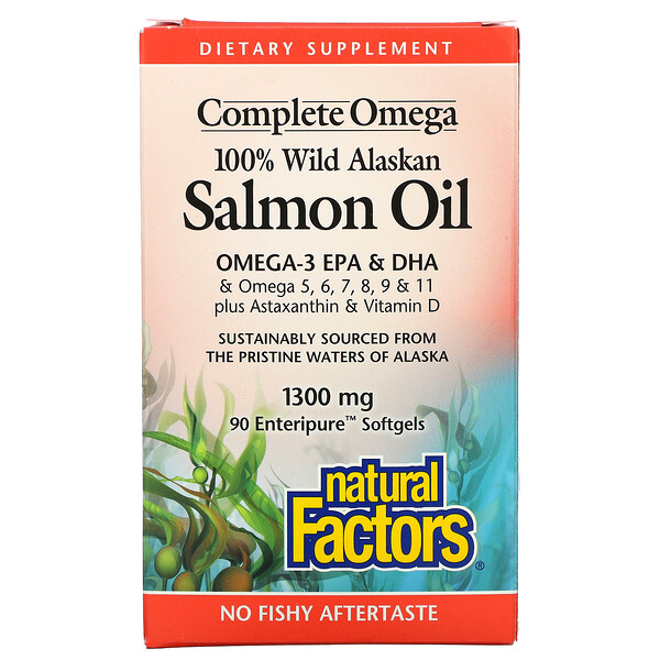 100% Wild Alaskan Salmon Oil, 1300 mg, 90 Enteripure Softgels