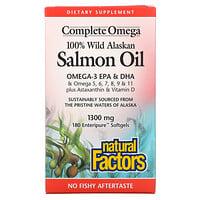 Natural Factors, 100% Wild Alaskan Salmon Oil, 1300 mg , 180 Enteripure Softgels
