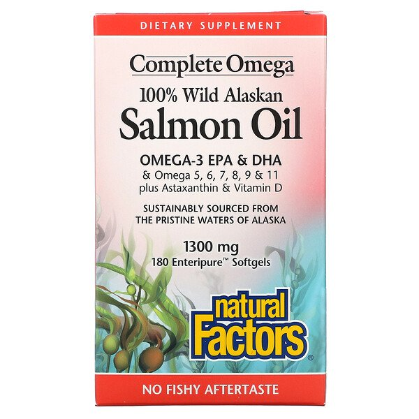 100% Wild Alaskan Salmon Oil, 1300 mg , 180 Enteripure Softgels
