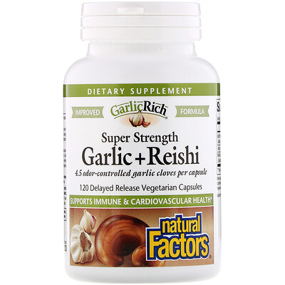 Natural Factors GarlicRich, Super Strength Garlic + Reishi, 120 Delayed Release Vegetarian Capsules