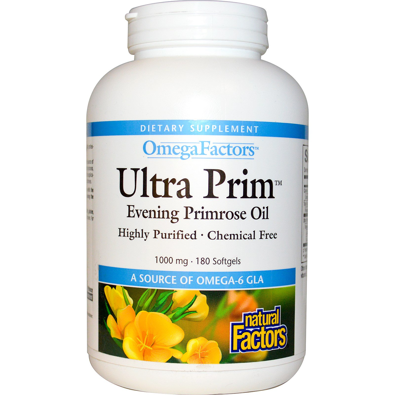 Natural Factors, OmegaFactors, Ultra Prim, Масло примулы вечерней, 1000 мг, 180 гелевых капсул
