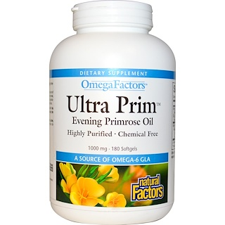 Natural Factors, OmegaFactors, Ultra Prim, Evening Primrose Oil, 1000 mg, 180 Softgels