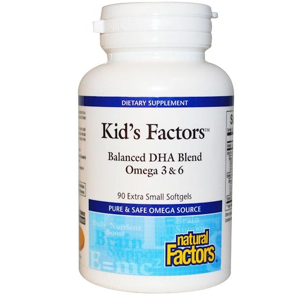 Natural Factors, Kid's Factors, Balanced DHA Blend Omega 3 & 6, 90 Extra Small Softgels (Discontinued Item)
