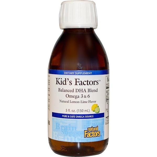 Natural Factors, Kid's Factors, Balanced DHA Blend, Natural Lemon-Lime Flavor, 5 fl oz (150 ml) (Discontinued Item)