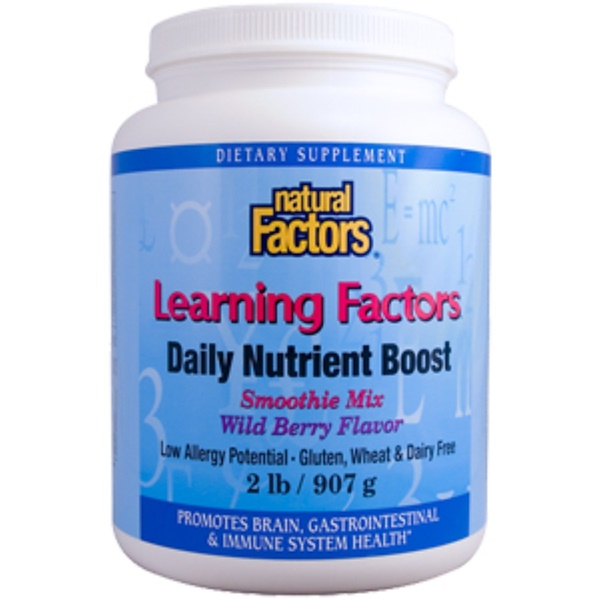 Natural Factors, Learning Factors, Daily Nutrient Boost, Smoothie Mix, Wild Berry Flavor, 2 lb (907 g) (Discontinued Item)