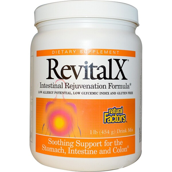 Natural Factors, RevitalX, Intestinal Rejuvenation Formula, Drink Mix, 1 lb (454 g) (Discontinued Item)