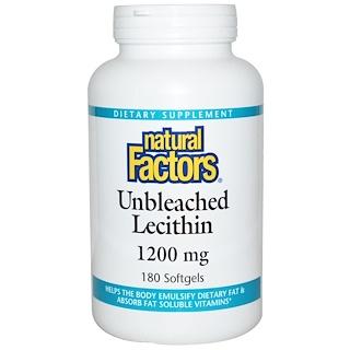 Natural Factors, Неотбеленный Лецитин, 1200 мг, 180 капсул