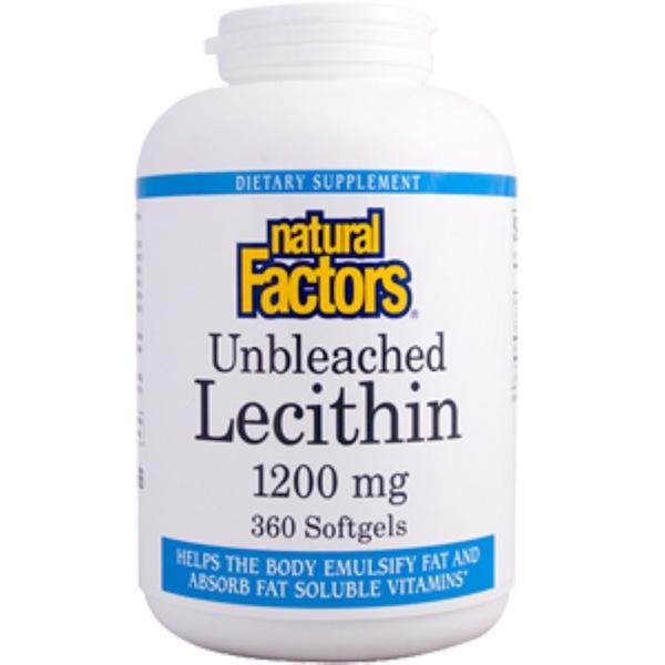 Natural Factors, Lecithin, Unbleached, 1200 mg, 360 Softgels (Discontinued Item)