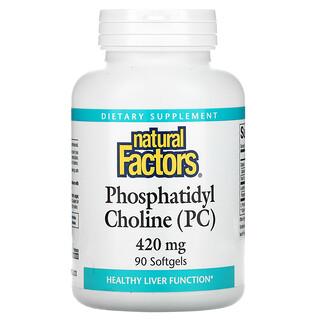 Natural Factors, фосфатидилхолин (ФХ), 420мг, 90мягких таблеток