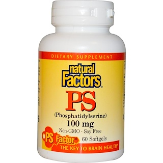 Natural Factors, PS, Fosfatidilserina, 100 mg, 60 Cápsulas