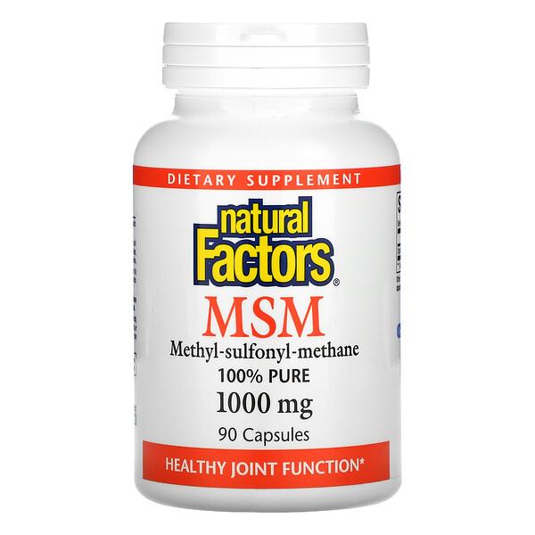 Natural Factors, MSM, 1,000 mg, 90 Capsules