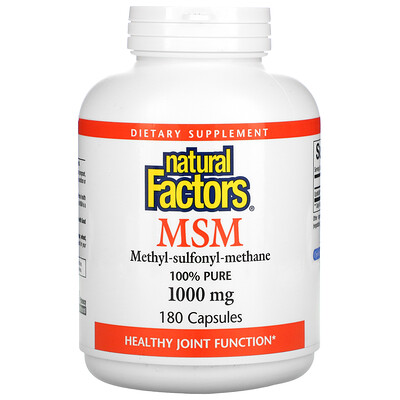Natural Factors МСМ, Метил-сульфонил-метан, 1 000 мг, 180 капсул