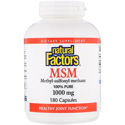 МСМ, Метил-сульфонил-метан, 1 000 мг, 180 капсул