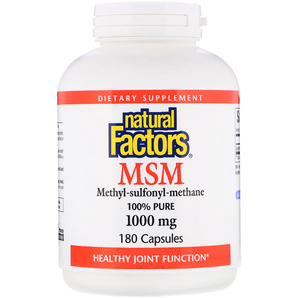 Natural Factors, MSM, Méthyl-Sulfonyl-Méthane, 1 000 mg, 180 Gélules