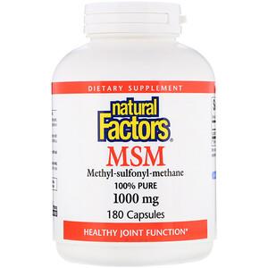 Натурал Факторс, MSM, Methyl-Sulfonyl-Methane, 1,000 mg, 180 Capsules отзывы