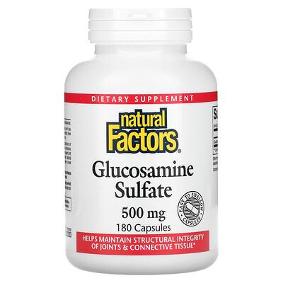 Купить Natural Factors Сульфат глюкозамина, 500 мг, 180 капсул