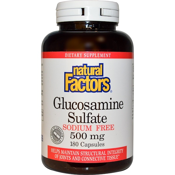 Natural Factors, Glucosamine Sulfate, Sodium Free, 500 mg, 180 Capsules (Discontinued Item)