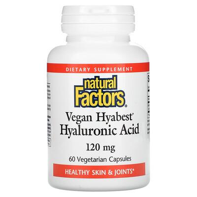 Natural Factors Vegan Hyabest Hyaluronic Acid, 120 mg, 60 Vegetarian Capsules